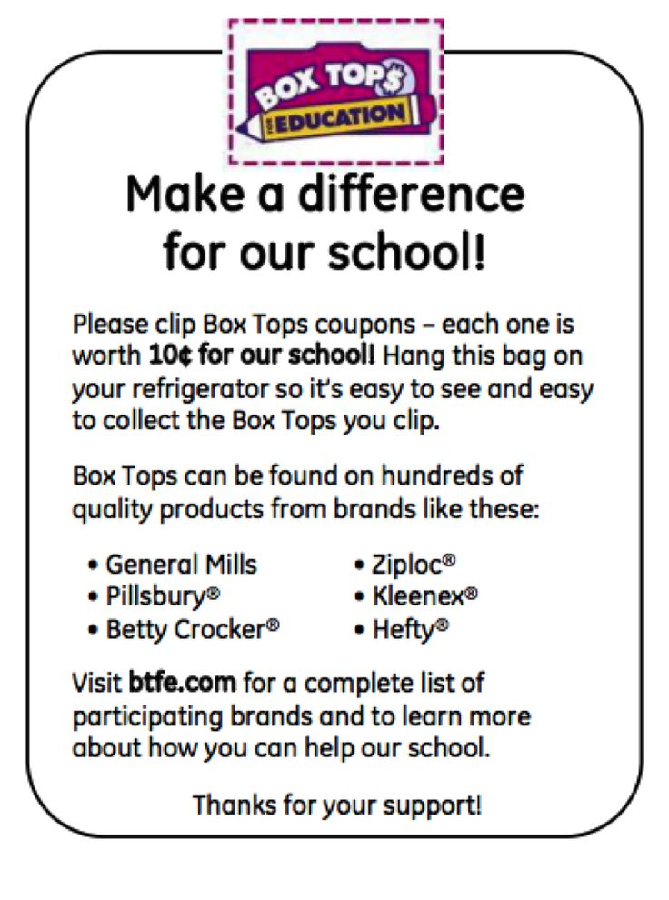 Use these inserts in baggies to promote your Box Tops for Education program.