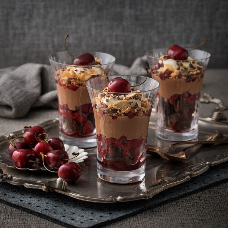 Make an impressive statement at your Christmas table with these decadent Black Forest Trifles. Rich and delicious chocolate brownie, amaretti biscuits, cherries, cream and a divine chocolate custard make this Christmas dessert a winner.