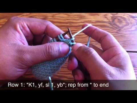 Linen stitch tutorial - but it's really simple: Row 1: *k1, slip 1 w/yarn in front* repeat Row 2: *p1, slip 1w/yarn in back* repeat These 2 rows create the pattern, I love it especially with variegated yarns. mz