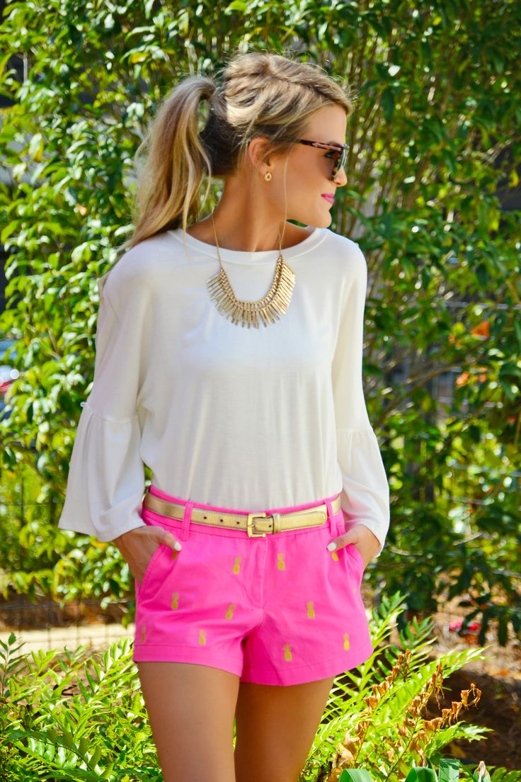 """$48.00 Pineapple Party Shorts Crisp, 100% cotton shorts embroidered with gold pineapples! Seriously SO CUTE. Shorts have zip fly and classic pockets.  Pair it with our """"Ruffle Club Tee"""" for the complete look."""