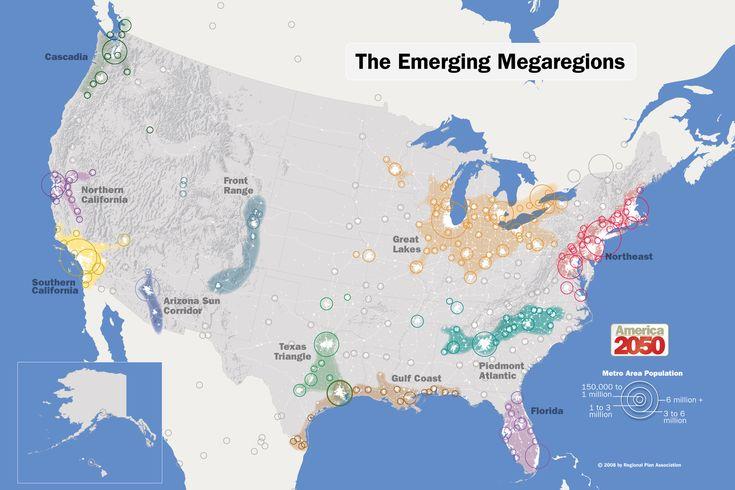 America 2050: Mega Regions    Credits: Regional Plan Association