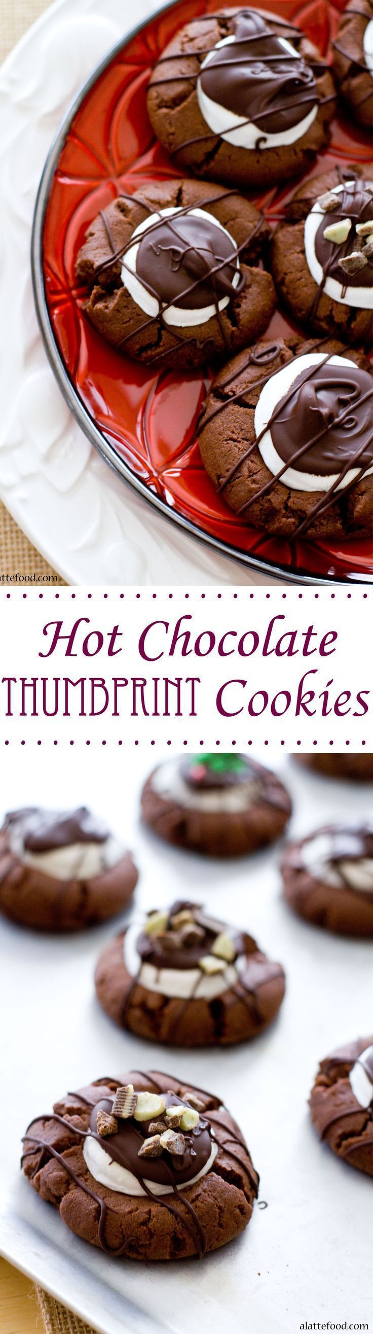 Hot Chocolate Thumbprint Cookies | All the flavors of hot cocoa right in one cookie! | www.alattefood.com/