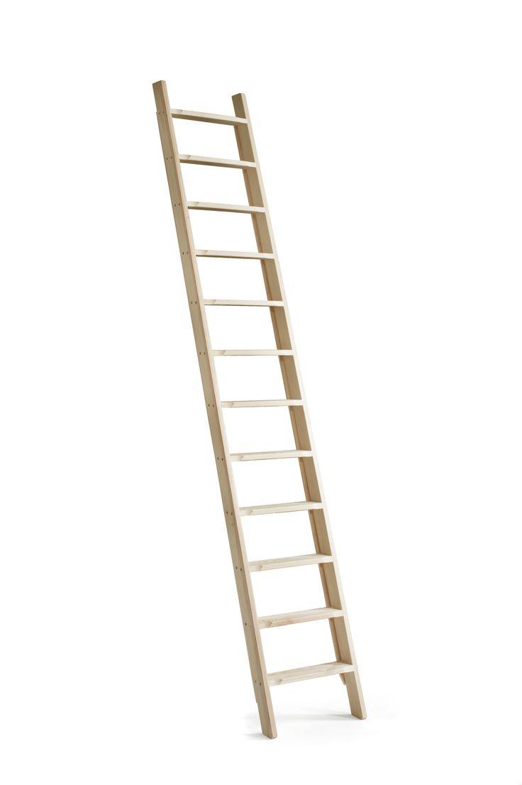 Om de bovenste planken van een kast te bereiken, maar ook voor een vliering waar u niet dagelijks bij hoeft. Door de treden comfortabel te beklimmen.  Gemaakt van Noors Grenen.