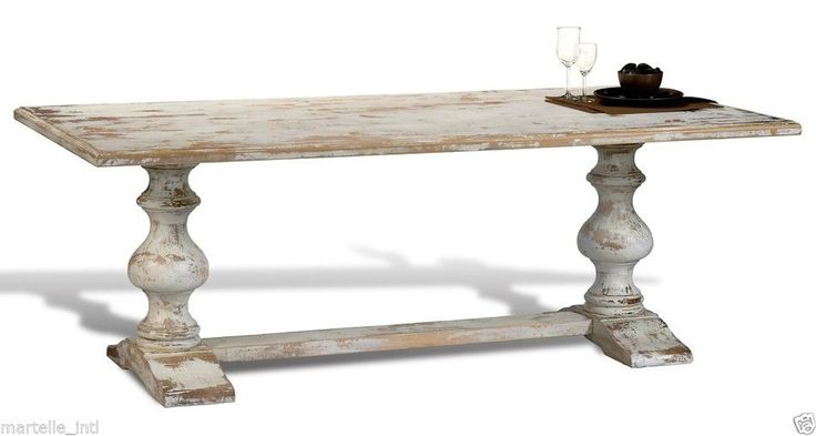 Dining Table French Country White Distress Trestle Handmade Old World Finish