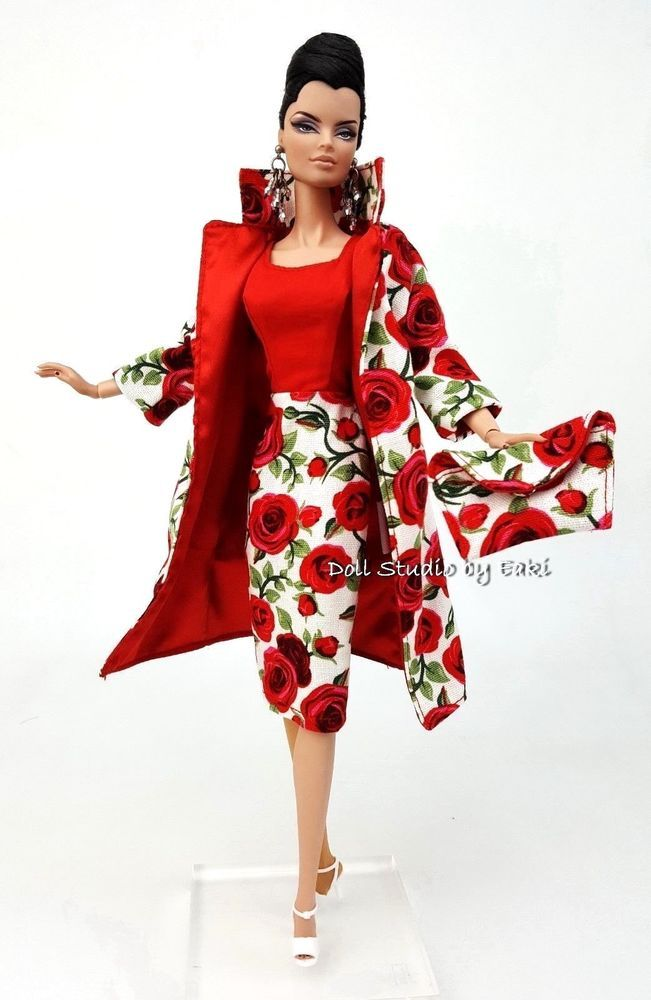 Red Rose Jacket Gown Dress Outfit Clothes Bag For Silkstone Fashion Royalty FR