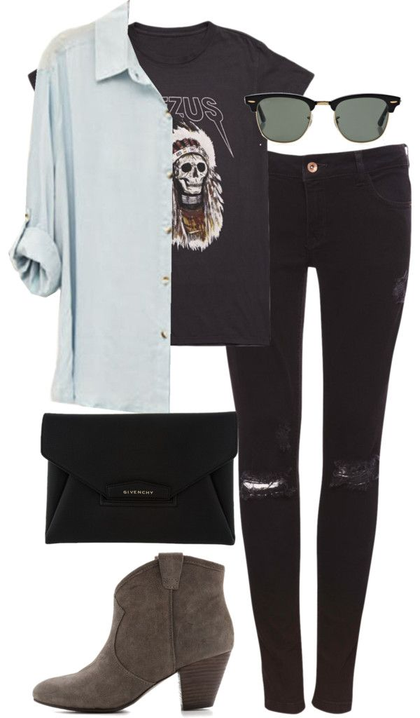 pocahontesoutfits:  Untitled #483 by pocahontees featuring suede bootsShirts top / Pull&Bear skinny jeans, $50 / Ash suede boots / Givenchy envelope clutch / Ray-ban glasses, $210 / Yeezus Tour Merch Indian Headress T-Shirt