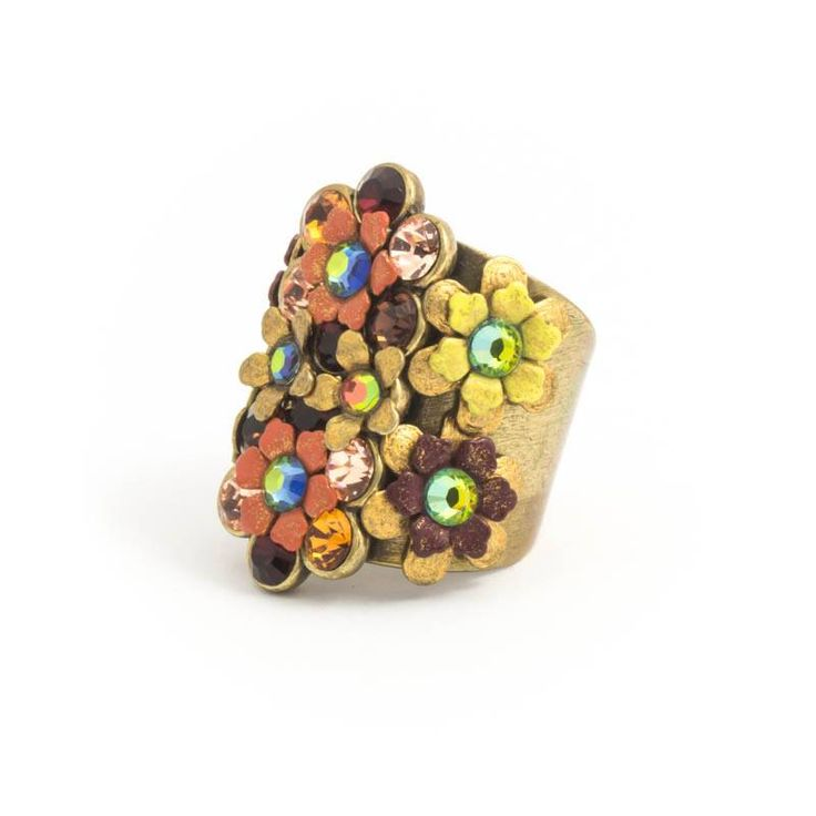 Langwerpige ring met bloemen en Swarovski kristallen