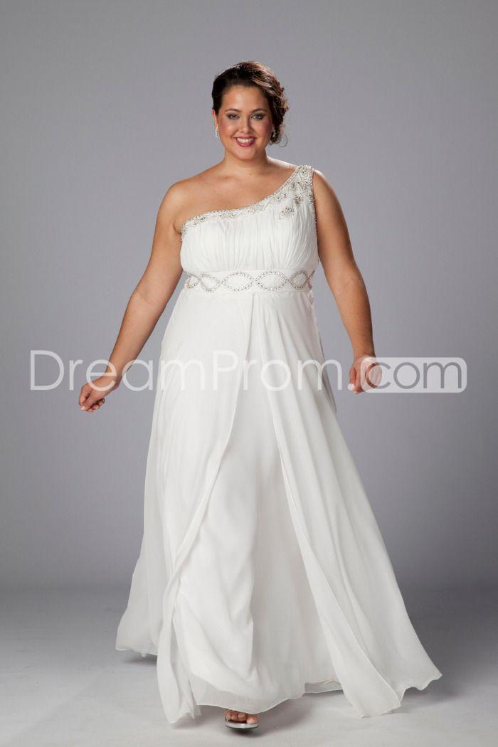 Fantastic Empire One-Shoulder Floor-Length Beaded Plus Size Wedding Dresses