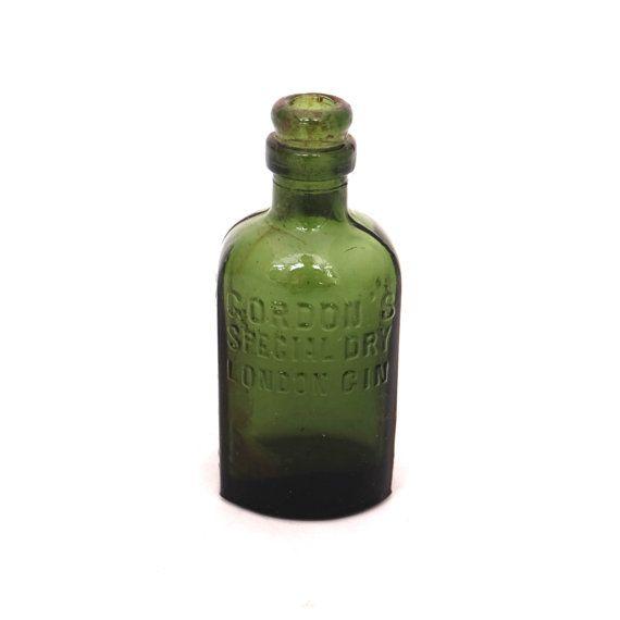 Vintage Gordons Special Dry London Gin Bottle, Glass Alcohol Bottle, Green Glass Bottle, Antique Gin Bottle, Old Glass Bottle, Spirit Bottle