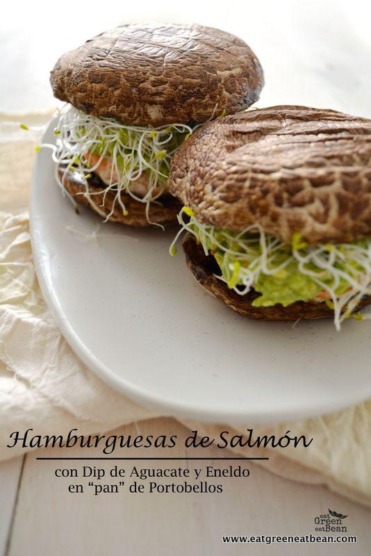 """Hamburguesas de Salmón con dip de Aguacate y Eneldo en """"Pan"""" de Portobellos regresa esta receta deliciosa pero con un twist y además viene con video incluido!!!"""
