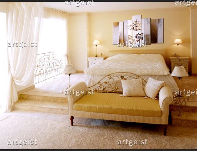 Dormitorio elegante y estiloso  http://www.artgeist.es/dientes-de-leon-dorados.html