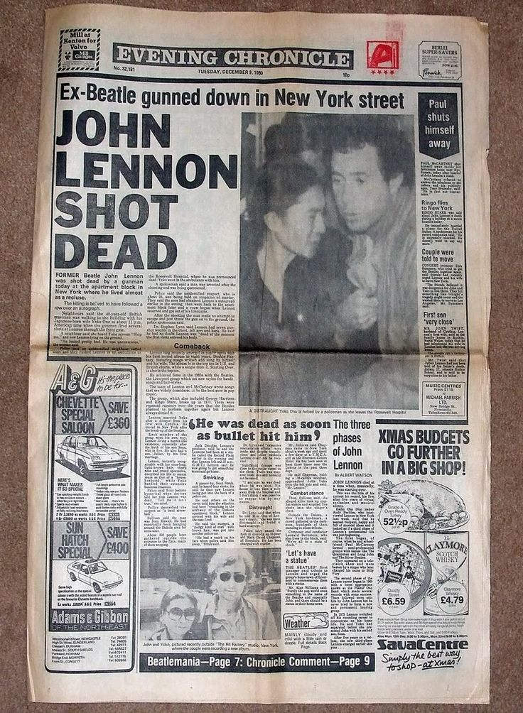 John Lennon's death in a newspaper