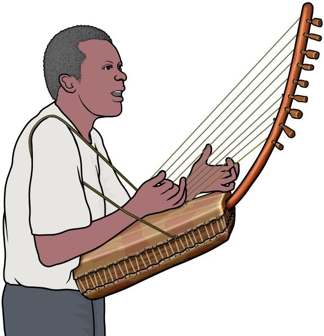 アドゥングの演奏(ウガンダの弦楽器)。ストラップで吊り下げる小型のアドゥング。