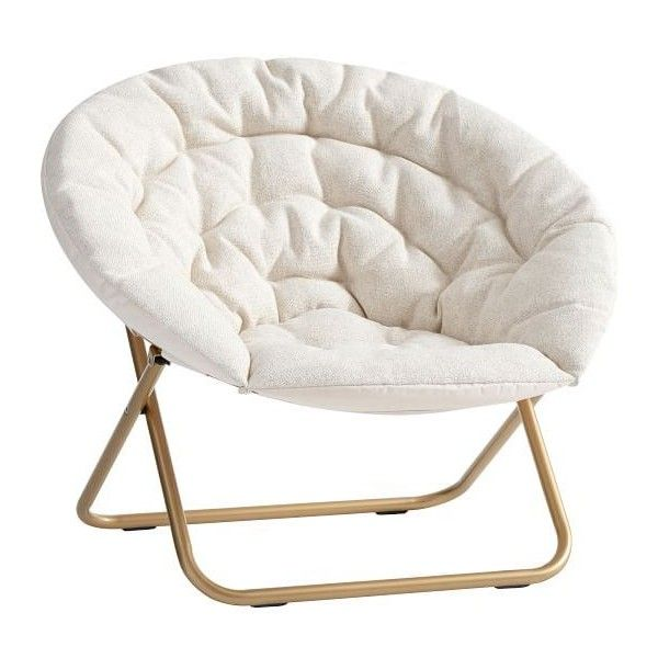 PB Teen Ivory Tweed Hang-A-Round Chair ($159) ❤ liked on Polyvore featuring home, furniture, chairs, cream furniture, round furniture, cream painted furniture, painted furniture and circular chair