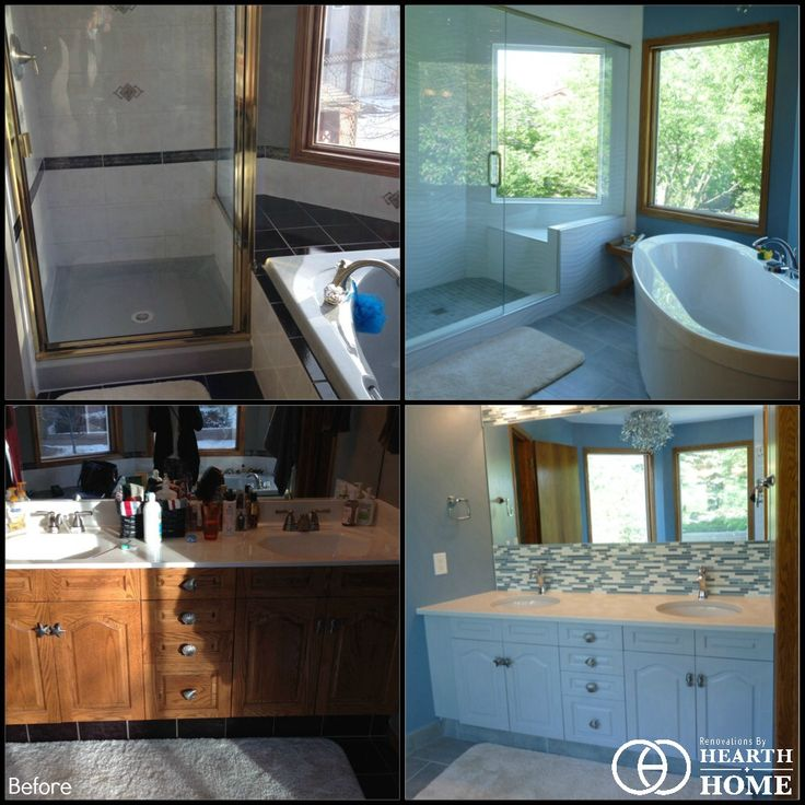 Before & After Ensuite Bathroom Renovation by Hearth & Home Custom Renovations.