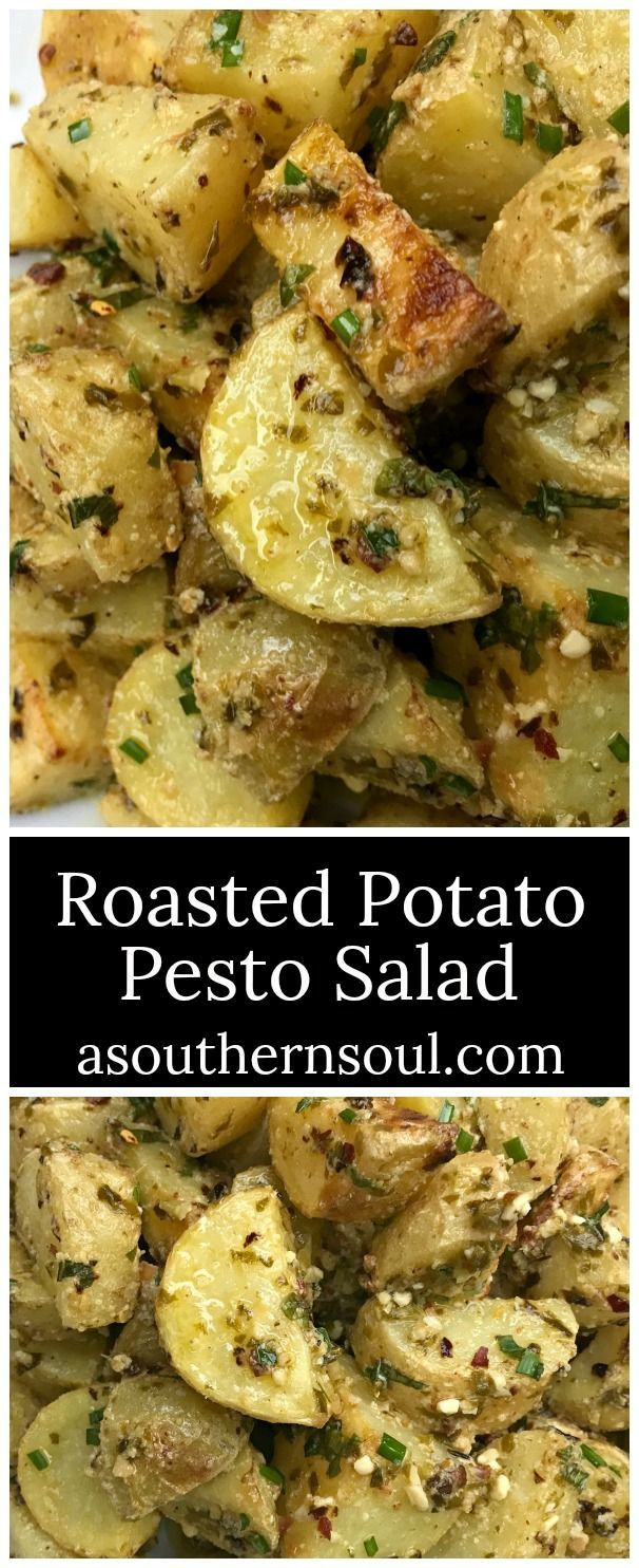 Roasted potatoes infused with pesto and fresh herb flavors is not your average potato salad.