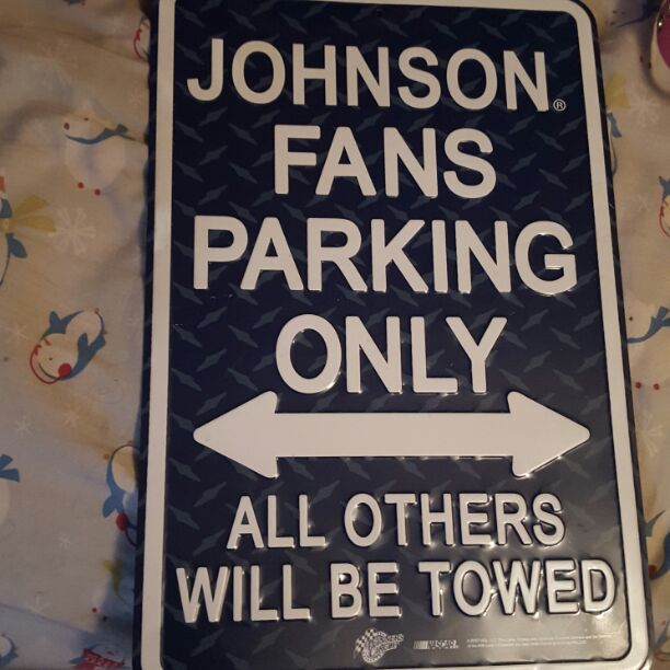 Blue and white metal Johnson Fans Parking Only Sign. Great gift for the Nascar loving Jimmy Johnson Fans or even if your last name is johnson.