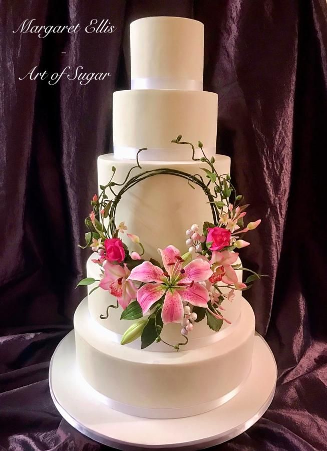 Stargazer Lily Buds And Foliage Cymbidium Orchids And Buds Rose Buds Chinese Jasmine And Foliage Set On A Freehand Covered Wire Lily Cake Flower Cake Cake