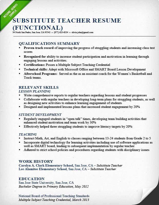 23 Substitute Teacher Job Description Resume In 2020 With Images