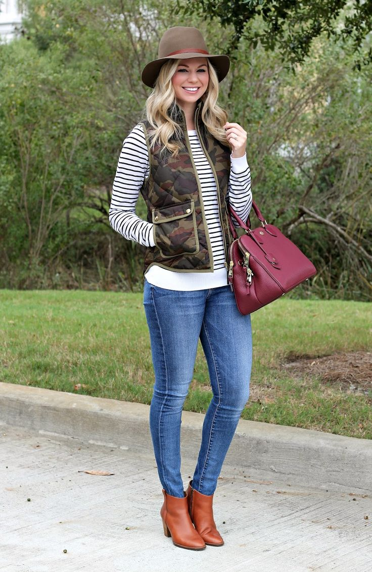 BowsandDepos: Camo vest + striped tee + jeans + coganc booties + burgundy satchel:
