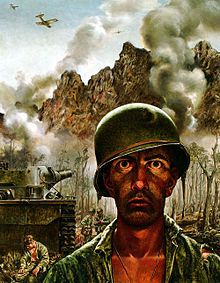"""Thousand-yard stare by Tom Lea. Painting of a 1944 Marine in the Battle of Peleliu. Featured in American Heritage 10/1999 article by military psychiatrist Dr. John W Appel """"Fighting Fear.""""  The artist Lea said of his subject, """"2/3's of his company have been killed, but he is still standing. So he will return to attack this morning. How much can a human being endure?"""""""