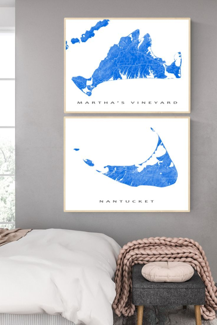 Marthas Vineyard Map And Nantucket Island Map In Blue In 2020 Art Prints For Home Map Art Map Wall Art
