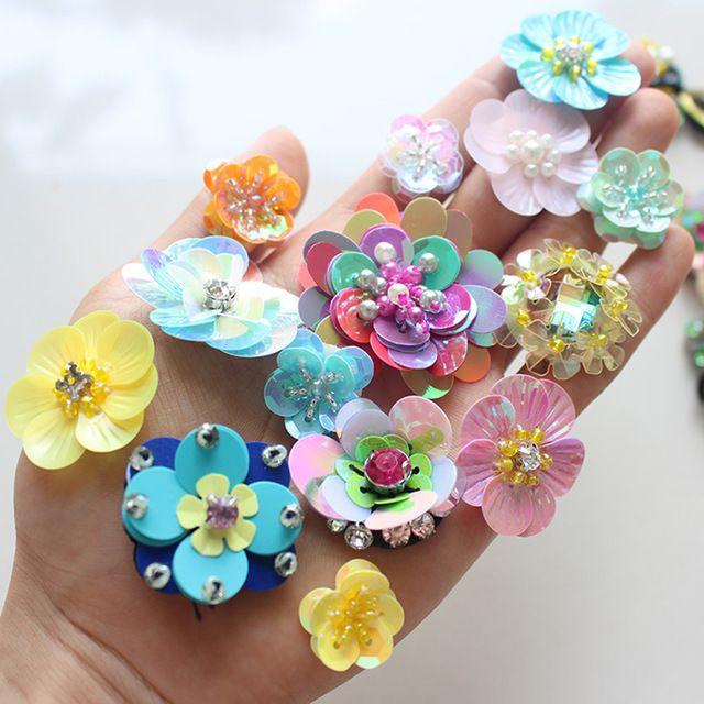 10 шт. 3D Цветок Из Бисера Патчи Блестками Parches для Одежды Декоративных Швейных На Наклейки Diy Ткани Одежды Швейные Parches