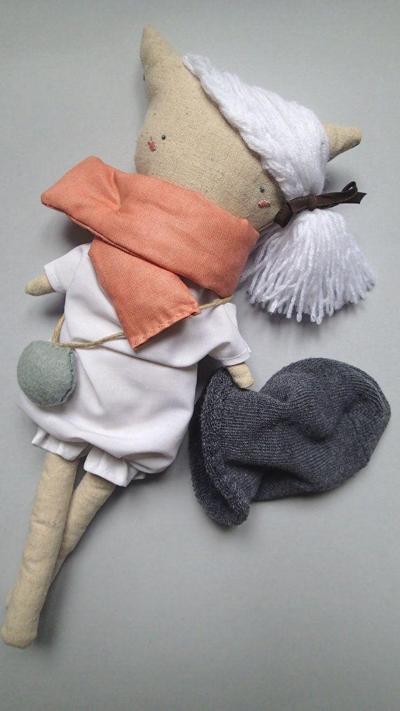 Daniela The Kitten Handmade linen doll Mycuddle by Marta Cielecka