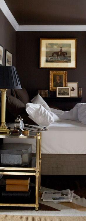 Dark Interiors   Black   Walls   Bedroom   Bed   Linen   TheFullerView