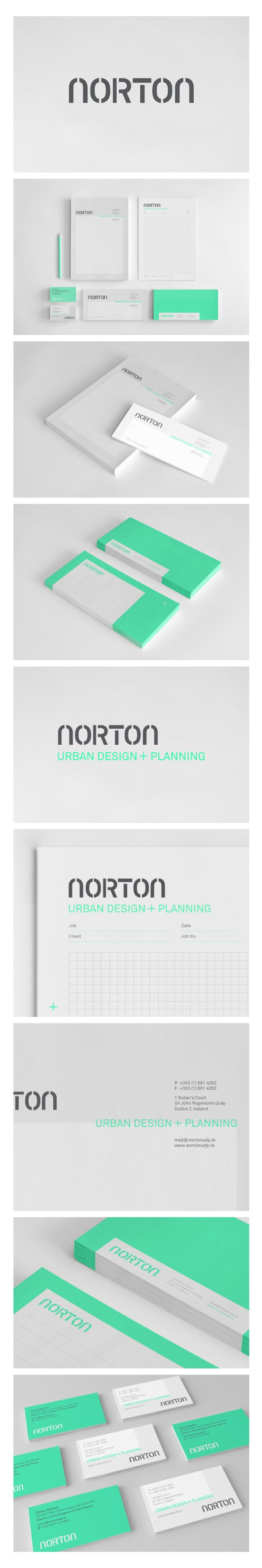 Visual Identity by Some Studio (based in Galway, Ireland); Norton UDP is an Urban Design and Planning consultancy that works to meet the needs of both private and public sectors. The design solution uses positive and negative space to emphasise the company's flexible approach to urban design, architecture, planning and development.