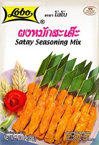 Thai Satay Seasoning Mix, Thai BBQ Sauce, Lobo Cooking Food, 100g., Lobo Satay Seasoning Mix Thai BBQ  Famous Thai Food Easy for Cooking This is original from Thailand Fast Shipping and Excellent Quality With Free Gift From THAILAND
