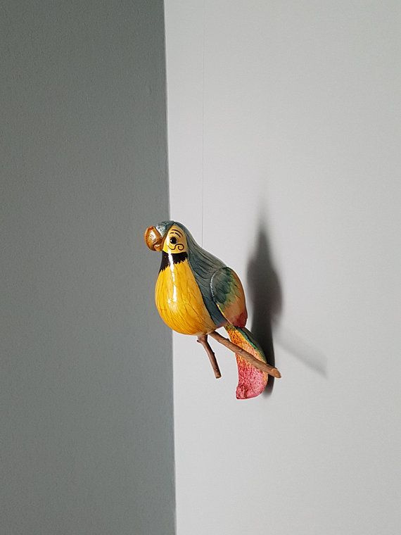 Vintage Wooden Coconut Parrot Urban Jungle Decoration Hanging
