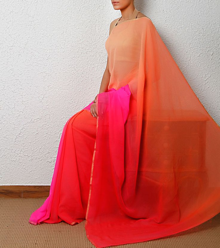 Red Shaded Pure Chiffon Saree