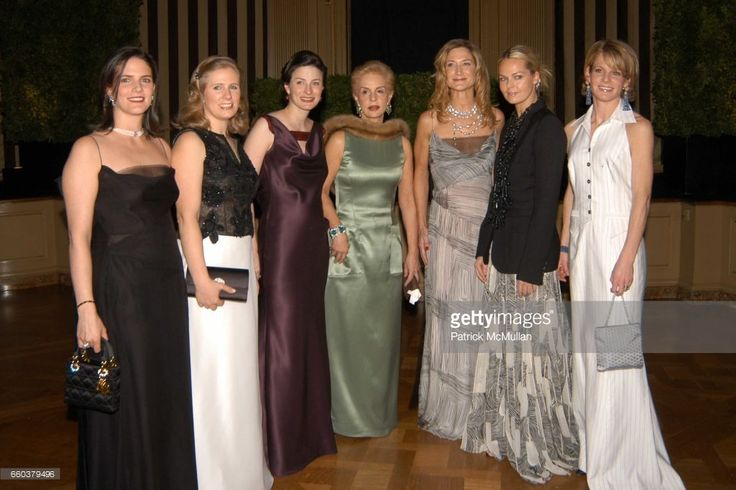 Karyn Lamb, Nathalie Kaplan, Marina Rust Connor, Carolina Herrera, Jennifer Nilles, Lauren du Pont and Martha Loring attend The Young Fellows of the Frick Collection and Carolina Herrera present a gala 'Men's Club' In Support of the Museum's Education Program at The Frick Museum on February 12, 2004 in New York City.