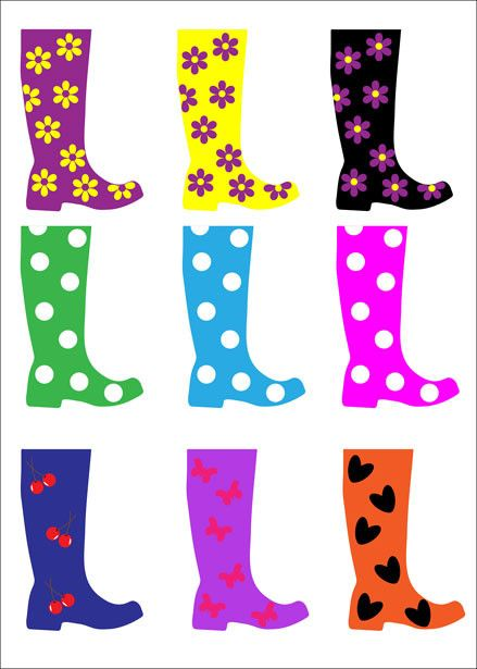 pluie - rainy day - clipart bottes de pluie multi colors/useful ideas for Xmas stockings of a different color