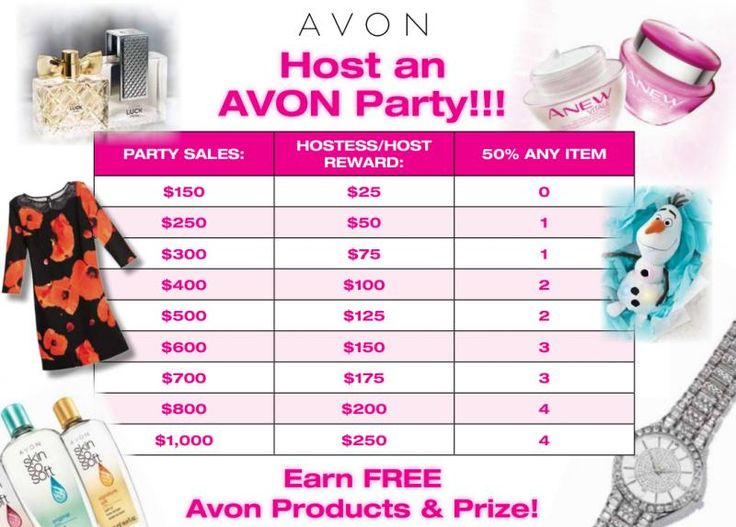 Hosting an Avon party means FREE PRODUCTS. This chart shows you the gift certificate amount you (as the party host) will receive based on the sales from people at your party. You'll also receive a number of items at 50% off list price! Contact me at samccabe@gmail.com or 226-929-9069 to set up a party in the KW, Cambridge, Guelph area. You can also request a paper brochure or shop online from the e-brochure www.youravon.com/nfuentes