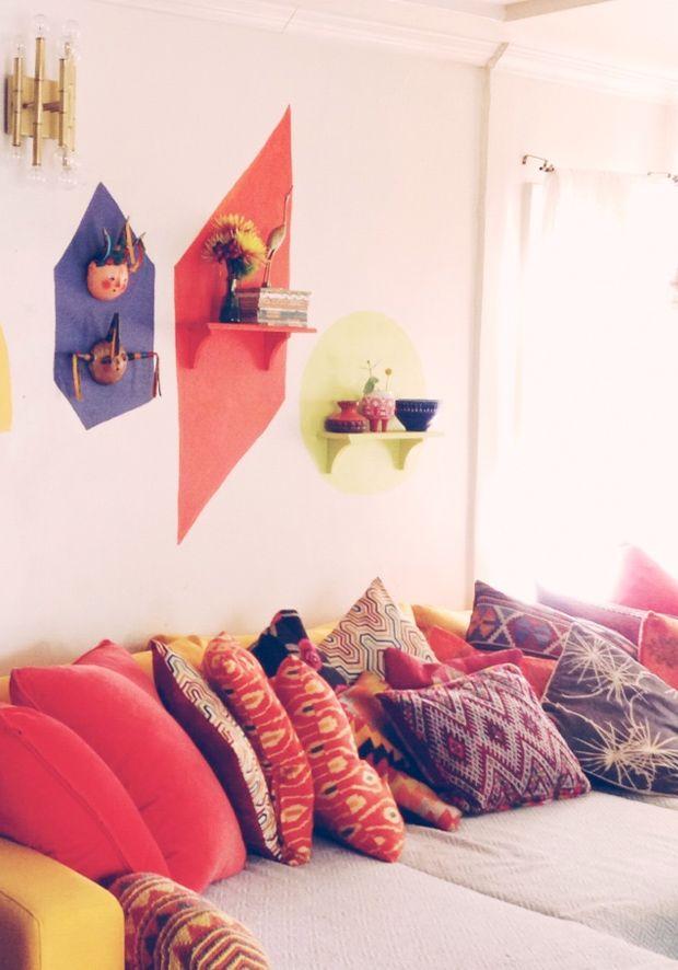 a bunch of Moroccan pillows