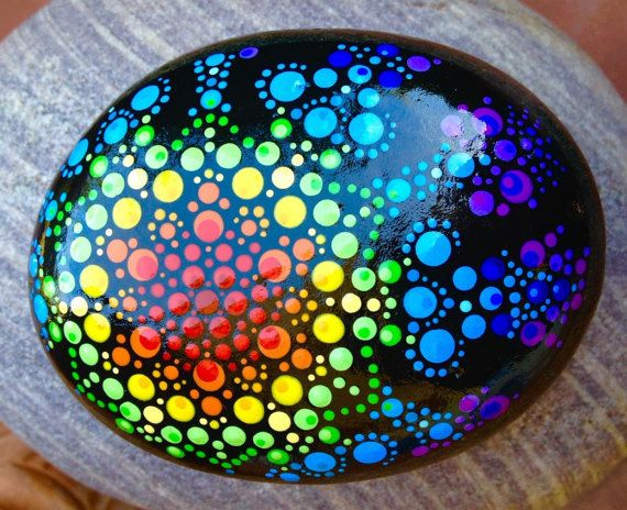 SNOWFLAKE CRYSTAL PRISM Painted River Rock