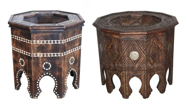 Moroccan Hand Carved Wooden Side Table - CW-ST043,  (http://www.badiadesign.com/moroccan-hand-carved-wooden-side-table-cw-st043/), Side table, wooden side table, carved wood side table, Moroccan side table, bone inlay side table, side table with glass top