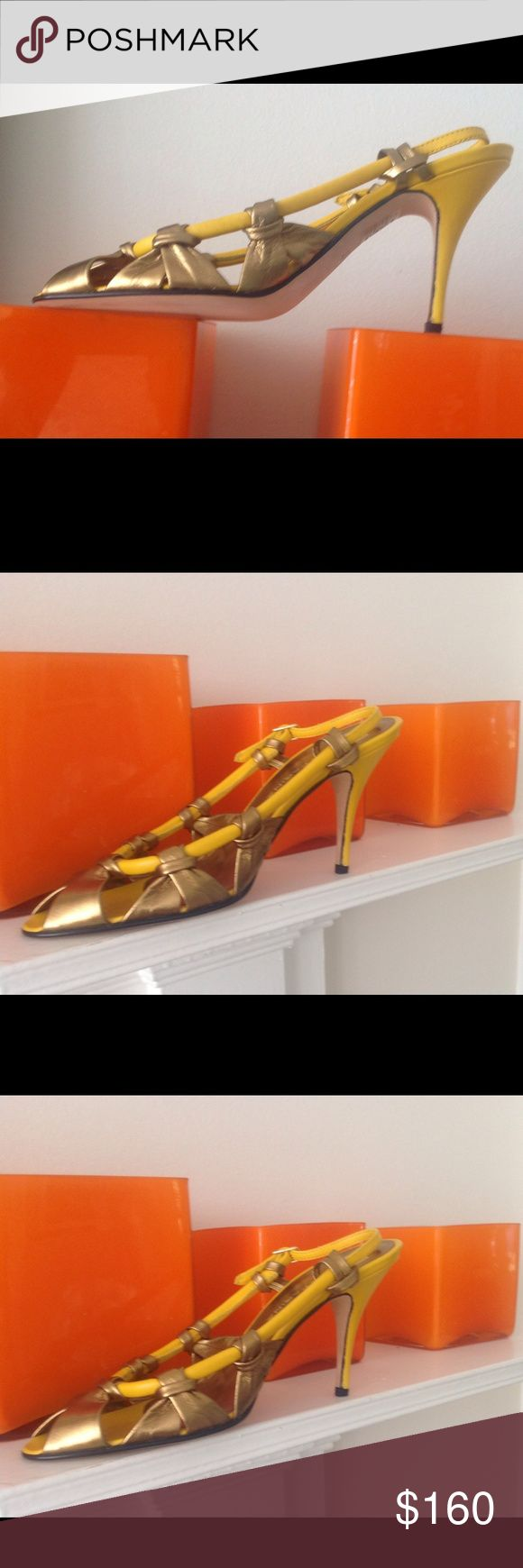 Shoes New! Elegant leather gold bronze and yellow High hill shoe, awesome designer color culmination. Made in Italy by Due Farina Due Farina Shoes Heels