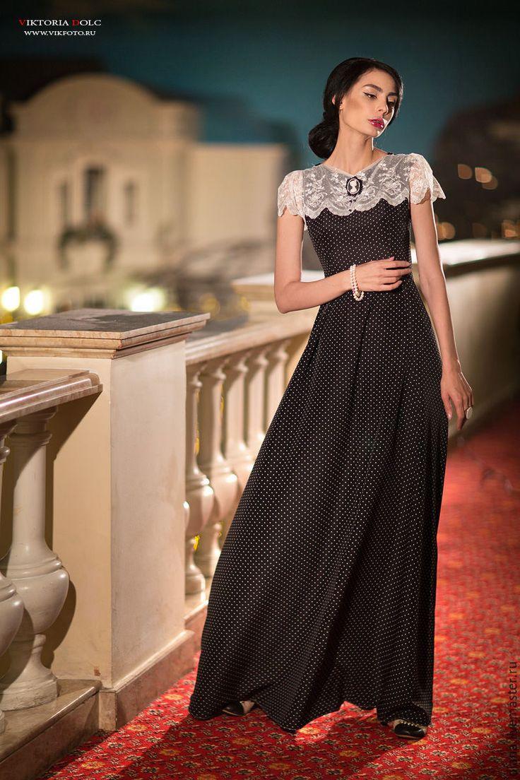 """Купить Ретро платье в горошек """"Лирика"""" - в горошек, платье, Платье нарядное, платье в пол"""