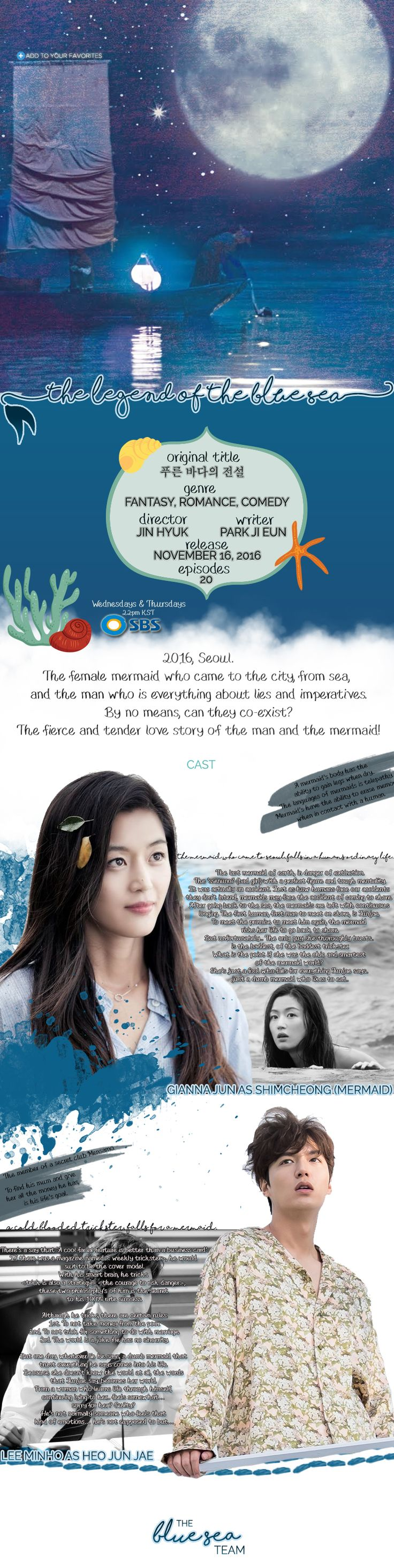 "How can a mermaid from the Joseon era survive in modern-day Seoul? Shim Chung (Jun Ji Hyun) is a mermaid who finds herself transplanted to modern times. She is ""caught"" by Heo Joon Jae (Lee Min Ho), a charming but cold con artist who is the doppelgänger for Kim Moon, the son of a nobleman she met during the Joseon Dynasty. But in the present time, Joon Jae works with Jo Nam Doo (Lee Hee Joon) and Tae Oh (Shin Won Ho) as part of a group of highly skilled scam artists. But Joon Jae's friend…"