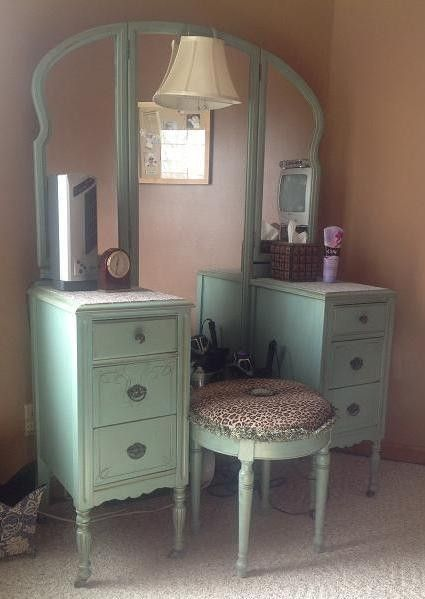 This Darling #vintage Vanity And Stool Was #custom Designed. Put Your Touch  On · Springfield IllinoisRepurposed FurniturePainted ...