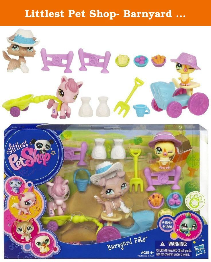 "Littlest Pet Shop- Barnyard Pets. Your new little chick, pony and collie pets are ready for some fun on their imaginary farm - and they want you to join in! Help your pony pet move supplies back and forth in her special cart accessory and supervise as your chick pet ""drives"" her tractor accessory all around. Your collie pet has important work to do, too, but first he's going to stop and have some farm-fresh ""snacks"". Barnyard work has never been so much fun! Chick, pony and collie pets…"