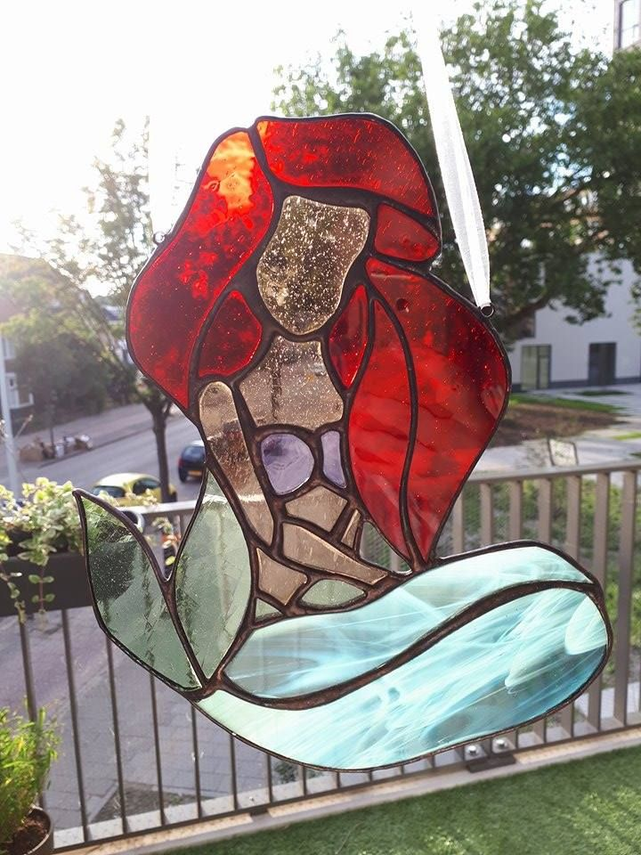 Ariël ~ Little Mermaid ~ Stained Glass ~ Disney ~ Tiffany ~ Suncatcher ~ ArrowGlass
