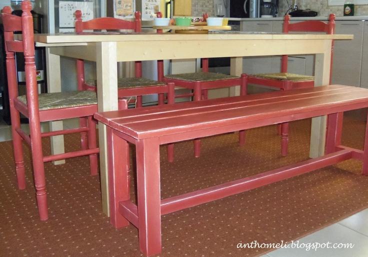 Ανθομέλι: Καρέκλες και παγκάκι κουζίνας σαν .... παλιά! change colour to your old chairs