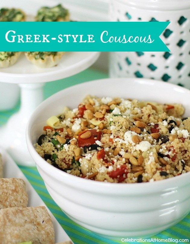 GREEK-STYLE COUSCOUS RECIPE #entertaining #potluck: Couscous Maybe Quinoa, Artichoke Hearts, Greek Styl Couscous, Couscous Recipes, Artichokes Heart, Style Couscous Maybe, Pine Nut, Greek Style, Green Onions