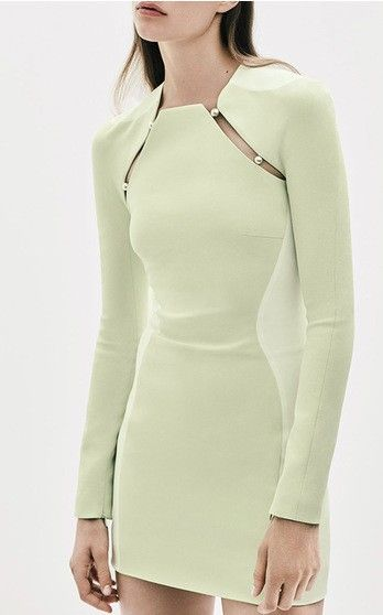 Firefly Bi-Color Fitted Cady Long Sleeve Dress by Mugler / Resort '16.