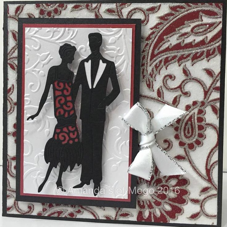 Art Deco Charleston Couple die cut and embossing card with glitter paper #amandasofmogo #mogo #handmade #cardmaking #tatteredlace #charleston #diecut