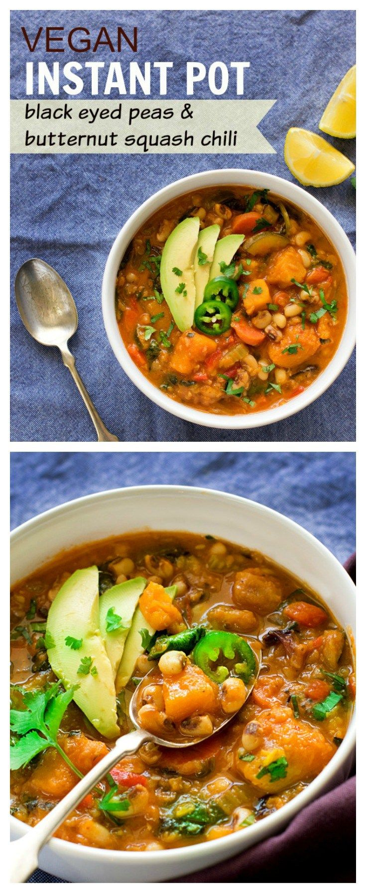 Instant Pot Black eyed peas lentils butternut squash chili is vegan & gluten- free. An easy one pot meal made by pressure cooking in instant pot. Vegetarian